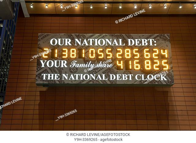 The National Debt Clock is seen in New York on Wednesday, February 13, 2019. Despite the clock being out of sync, the U. S. Treasury Dept