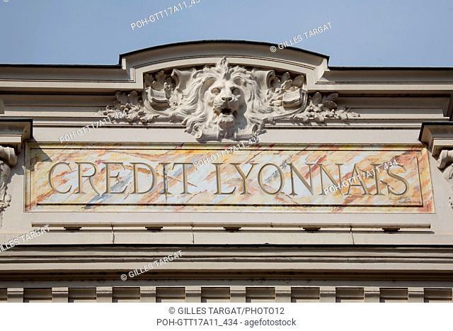France, Lyon, Rue de la République, Siège du Crédit Lyonnais, bank, lion, pediment, Photo Gilles Targat