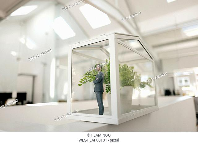 Businessman figurine standing in glasshouse with plant