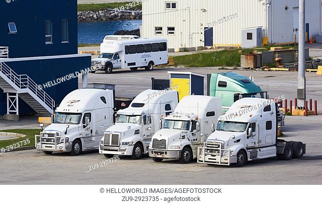 North American style trucks parked dockside at Port aux Basques, Newfoundland, Canada