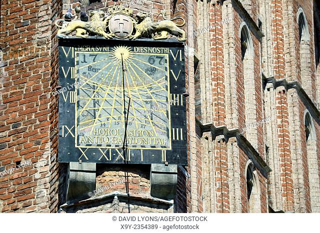 Gdansk Poland. Sun dial by Anton Glazier dating from 1589 on south wall of The Main Town Hall in the heart of the Old Town