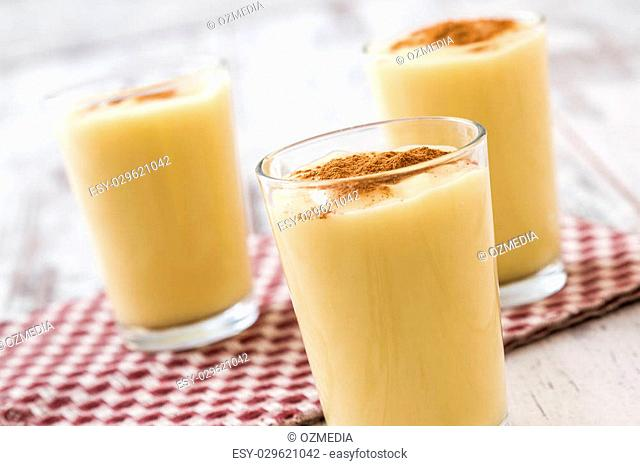 Boza or Bosa, traditional Turkish dessert made of millet or corn flour