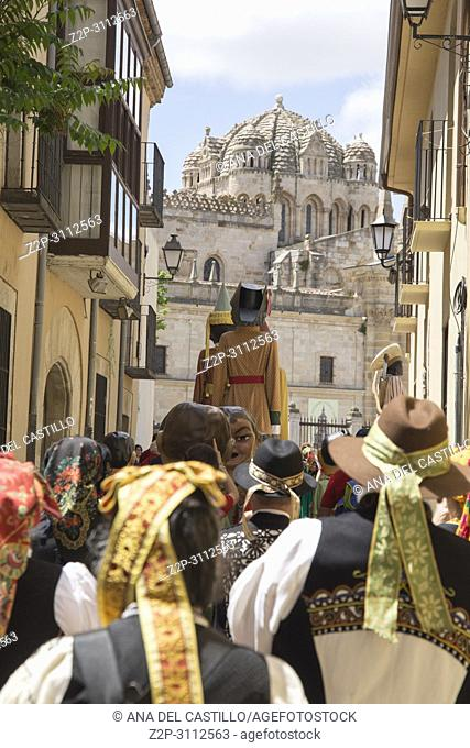 Gigantes y cabezudos parade the Corpus Christi day in Zamora on June 3, 2018