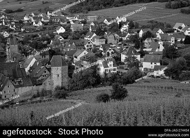 Aerial of small town, Old Houses, Riquewihr, Alsace, France, Europe