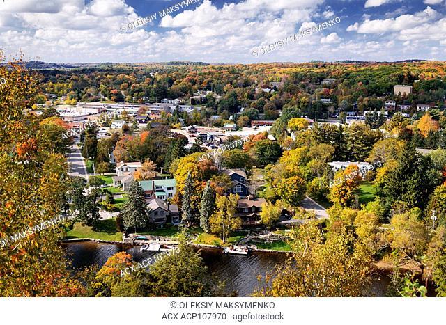 Town of Huntsville aerial view in fall, Muskoka, Ontario, Canada 2016