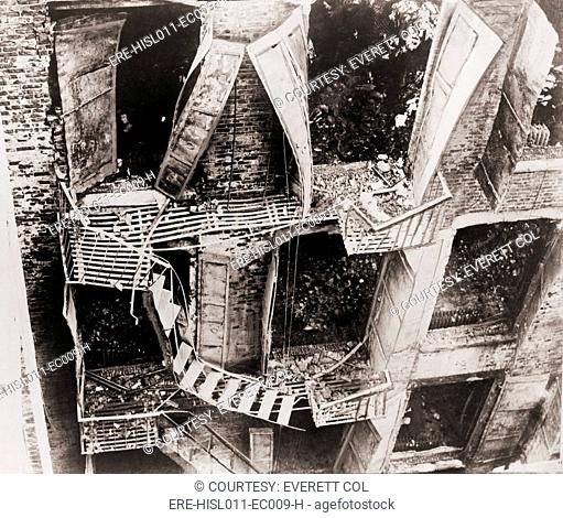 Triangle Shirtwaist Factory fire escape collapsed during the March 15, 1911 fire. 146 died, either from fire, jumping or falling to the pavement