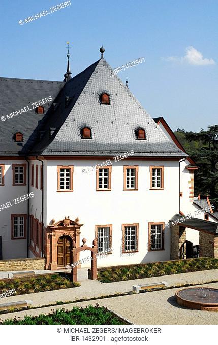 Praelatengarten, Rheingausalon of the Eberbach Monastery in the back, Eltville on Rhine River, Rheingau, Hesse, Germany, Europe