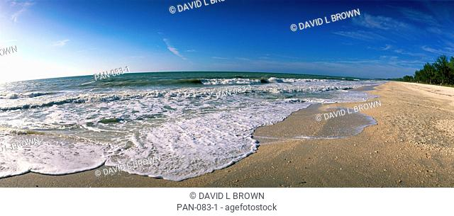 Ocean Waves on Beach, Sanibel Island, Florida, USA