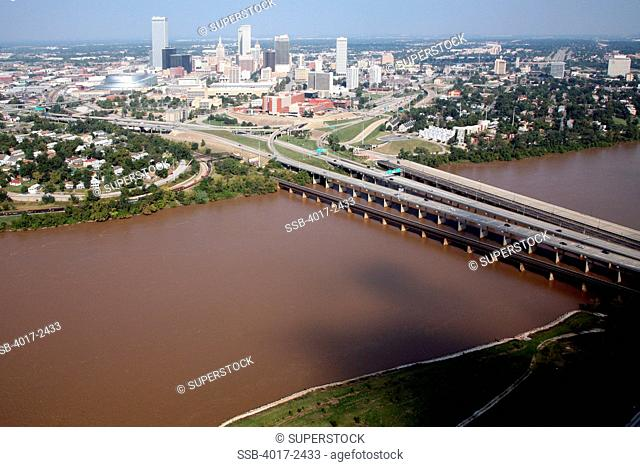 Tulsa Oklahoma Skylien and Riverfront of the Arkansas River