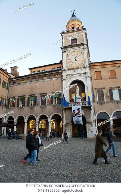 People on passeggiata evening walk Piazza Grande square central Modena city Emilia-Romagna region central Italy Europe