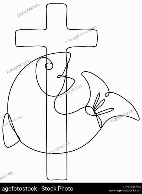 Continuous line drawing illustration of a fish and cross symbol of Christianity done in mono line or doodle style in black and white on isolated background