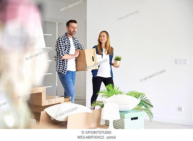 Happy couple moving into new flat carrying cardboard box and plant