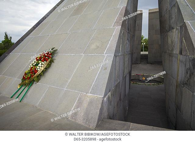 Armenia, Yerevan, Armenian Genocide Memorial, monument to the massacre of Armenians of the Ottoman Empire, 1915-1922, eternal flame