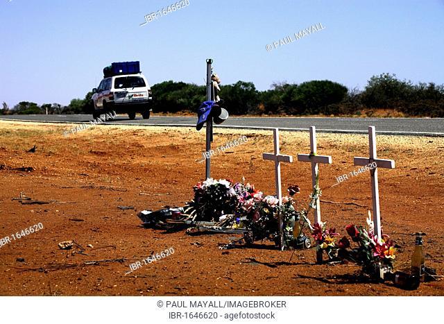 Australian outback roadside memorial shrines, North Western Australia, Australia