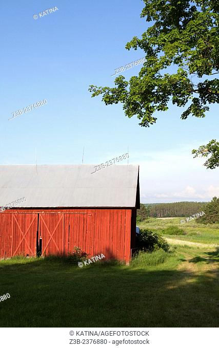 Red barn in summer, Williamsburg, Michigan, near Traverse City, MI, USA