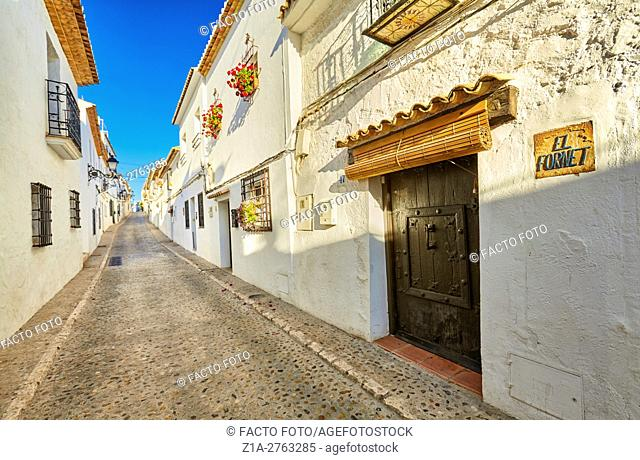 Narrow street in Altea. Alicante. Valencia community. Spain