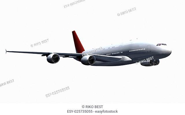 modern passenger airplane in flight - isolated on white background
