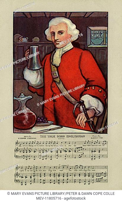 Traditional song with music. Image depicting an English soldier with a jug of ale. Artist: Ethel Parkinson