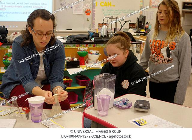 7th Grade Science Teacher Demonstrating Expansion of Gases Experiment, Wellsville, New York