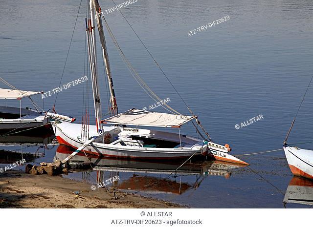 MOORED FELUCCA; RIVER NILE, LUXOR, EGYPT; 13/01/2013