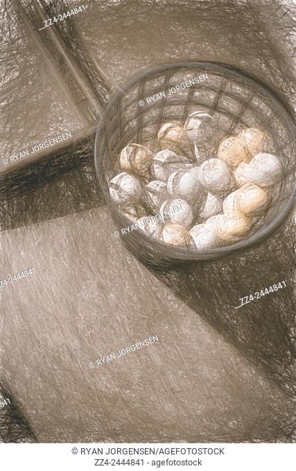 Digital fine art illustration on a bucket of golf balls. Driving range artwork