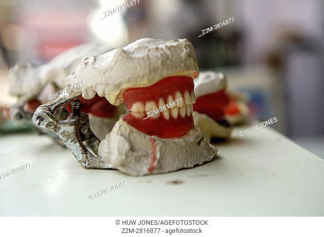 False Teeth, dentures for sale in the street market, Charminar Bazaar, Hyderabad, Andhra Pradesh, India