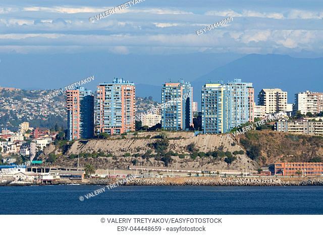 The coastline of Valparaiso, Chile