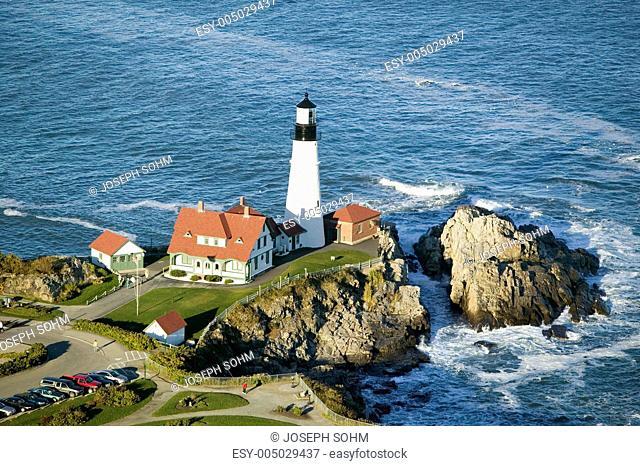 Aerial view of Portland Head Lighthouse, Cape Elizabeth, Maine