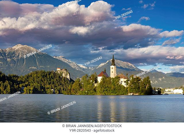 Afternoon sunlight over St Marys Church of the Assumption, Lake Bled, Upper Carniola, Slovenia
