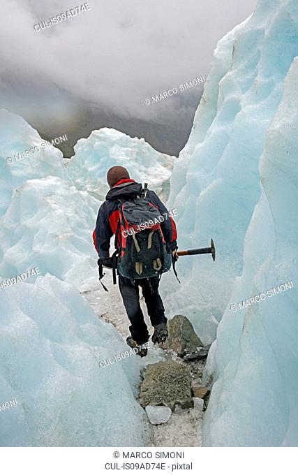 Ice climber on Fox Glacier, South Island, New Zealand