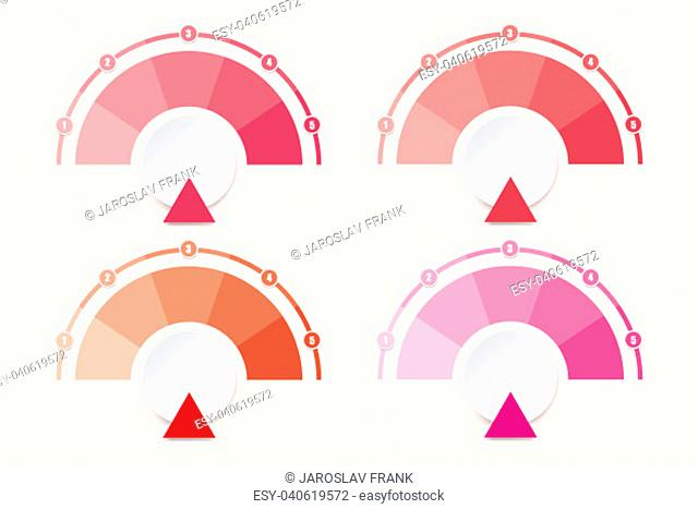 Set of four infographic diagrams ready for your text in shades of red color