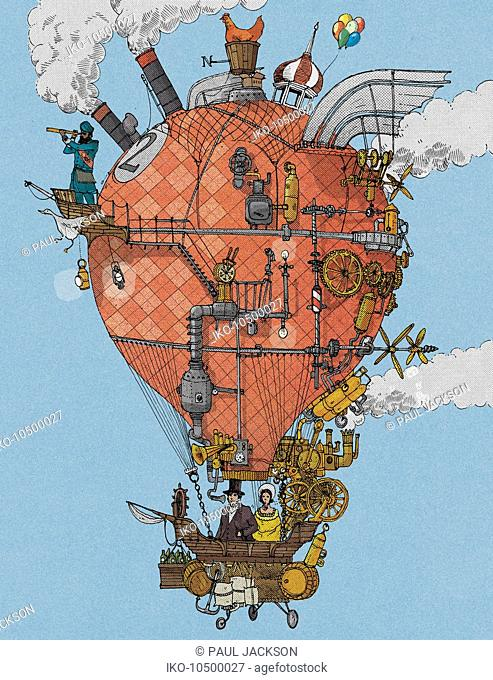 Old-fashioned explorers in homemade hot air balloon