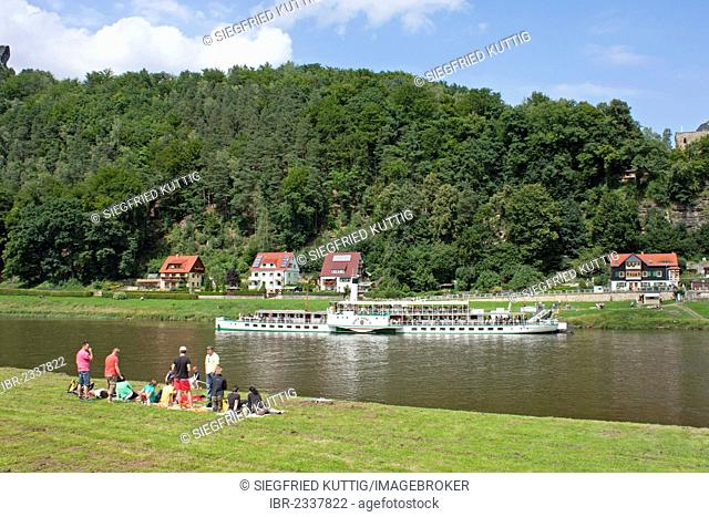 Paddlewheeler, health resort of Rathen, Saxon Switzerland, Saxony, Germany, Europe