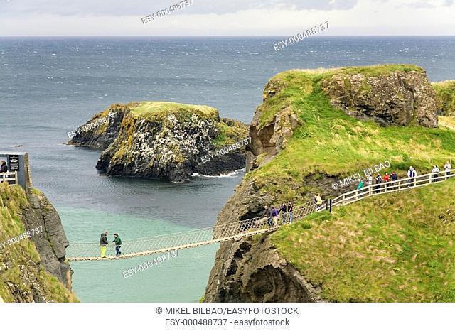 suspension bridge in Carrick-a-Rede, in 'Causeway Route' Ballintoy, County Antrim, Northern Ireland coast, Europe