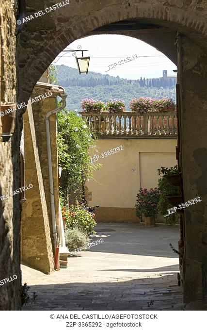 Castelmuzio, an ancient village dating back to the time of the Etruscans, is built on a volcanic limestone hilltop overlooking an amazing landscape Orcia valley...