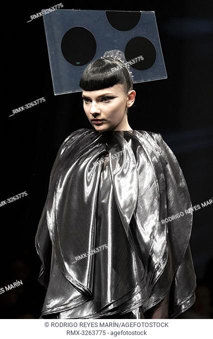 March 18, 2019, Tokyo, Japan - A model wearing fashion brand 'FUKUSHIMA PRIDE by JUNKO KOSHINO' walks down the catwalk during the Amazon Fashion Week TOKYO 2019...