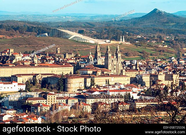 Santiago de Compostela cityscape view on sunny day