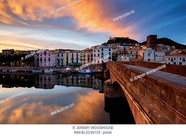 Reflection of waterfront on river, Bosa, Provincia di Oristano, Italy