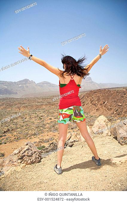 woman hands up backwards