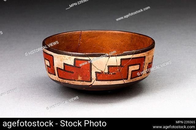 Bowl with Stepped-Fret Motif - 180 B.C./A.D. 500 - Nazca South coast, Peru - Artist: Nazca, Origin: Nazca Valley, Date: 180 BC-500 AD