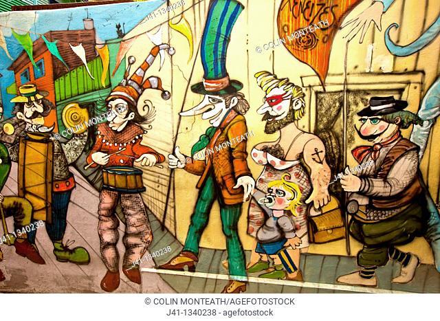 Street art mural, La Boca Italian artists quarter, popular with tourists, Buenos Aires, Argentina