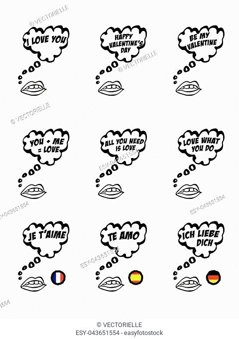 Heart shaped speech bubbles with love messages in English, French, Spanish, German