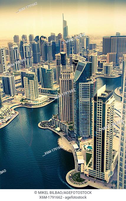 Skyscrapers in Dubai Marina  Dubai city  Dubai  United Arab Emirates