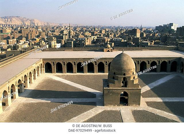 Courtyard with 13th century fountain, Mosque of Ahmad ibn Tulun (9th century), Cairo, Egypt