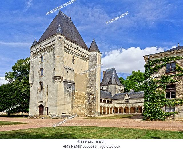 France, Indre, Berry, Argy, castle of Argy, the Renaissance Galleries and the keep