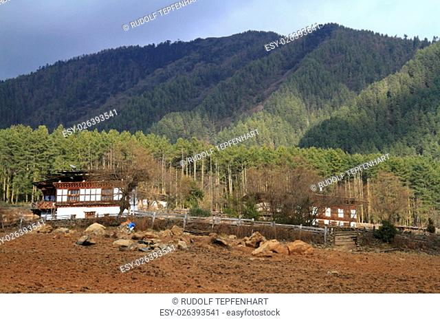 Typical Bhutanese architecture in central Bhutan