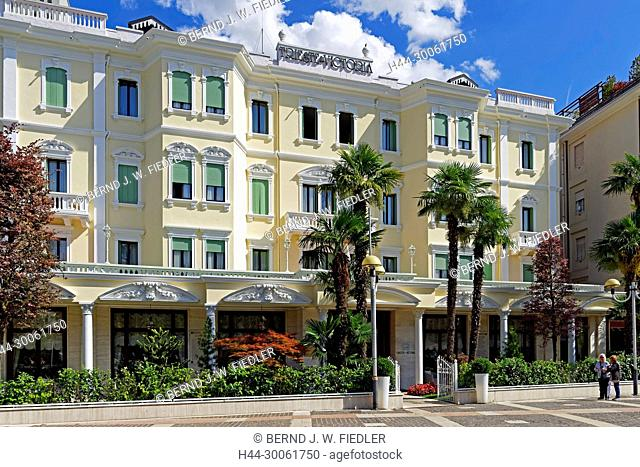 Europe, Italy, Veneto Veneto, Abano Terme, Viale depression Terme, Grand hotel of Trieste & Victoria, trees, buildings, flowers, plants, park, architecture
