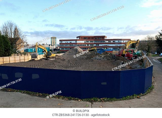 Preparation of a site for construction, Greenwich, South London, UK