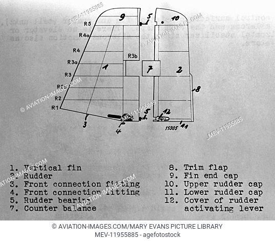 Luftwaffe Messerschmitt Me-163 Komet Tail-Fin and Rudder Section Line-Drawing Technical-Drawing Diagram