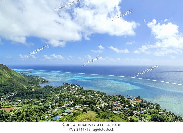 The view from Magic Mountain overlooking Moorea's lagoon, French Polynesia